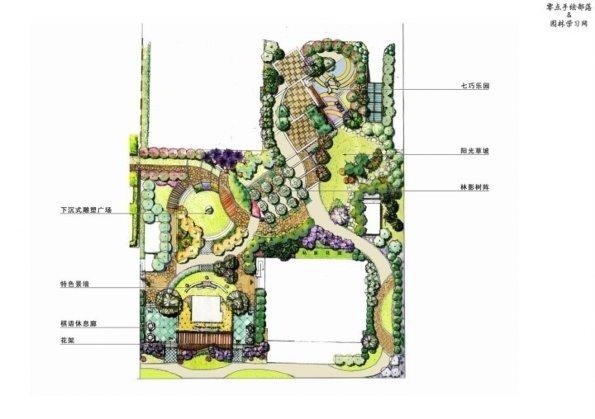 手绘风格总平面图,环境设计值得借鉴_绿化及小品布置