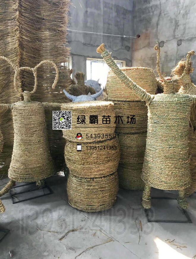 干稻草 稻草人卡通稻草人稻草工艺品 稻草创意 房屋稻草文化节
